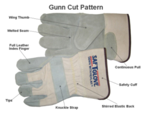 "Memphis 1211J Split Leather Gloves, Gunn Pattern, ""C"" Economy"